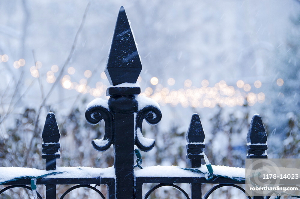 USA, New York State, New York City, antique fence covered with snow