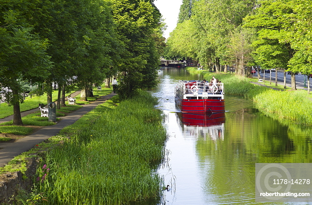 River boat on Grand Canal in Dublin Ireland