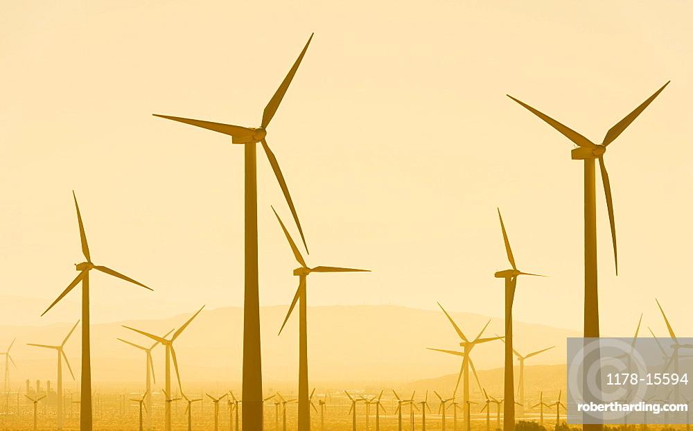 USA, California, Palm Springs, Wind turbine against sunset sky, USA, California, Palm Springs