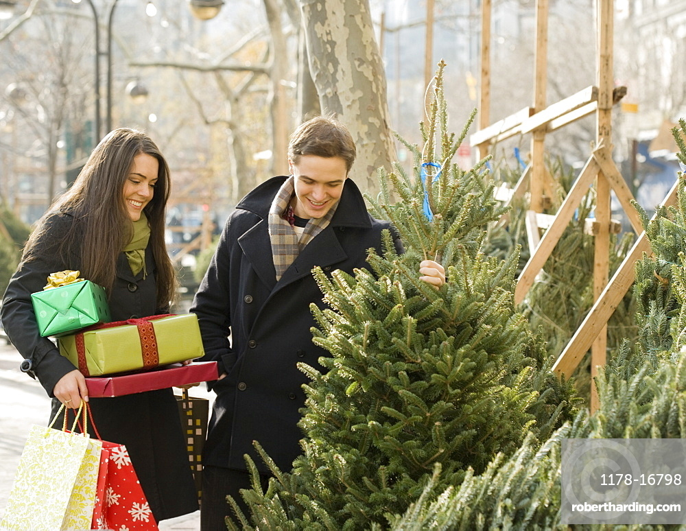 Couple shopping for Christmas trees