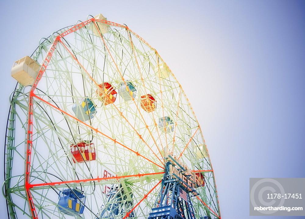 Ferris wheel in amusement park, USA, New York State, New York City, Brooklyn, Coney Island