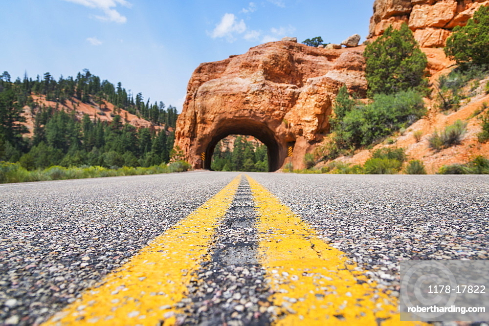 Road going under natural tunnel, USA, Utah, Bryce Canyon