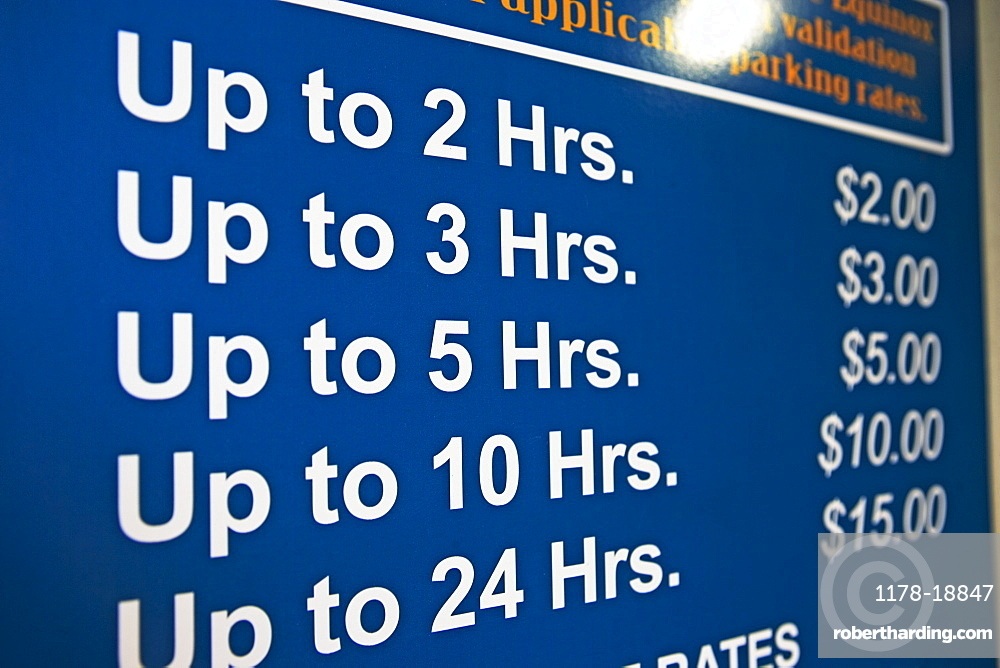 Close up of parking prices sign