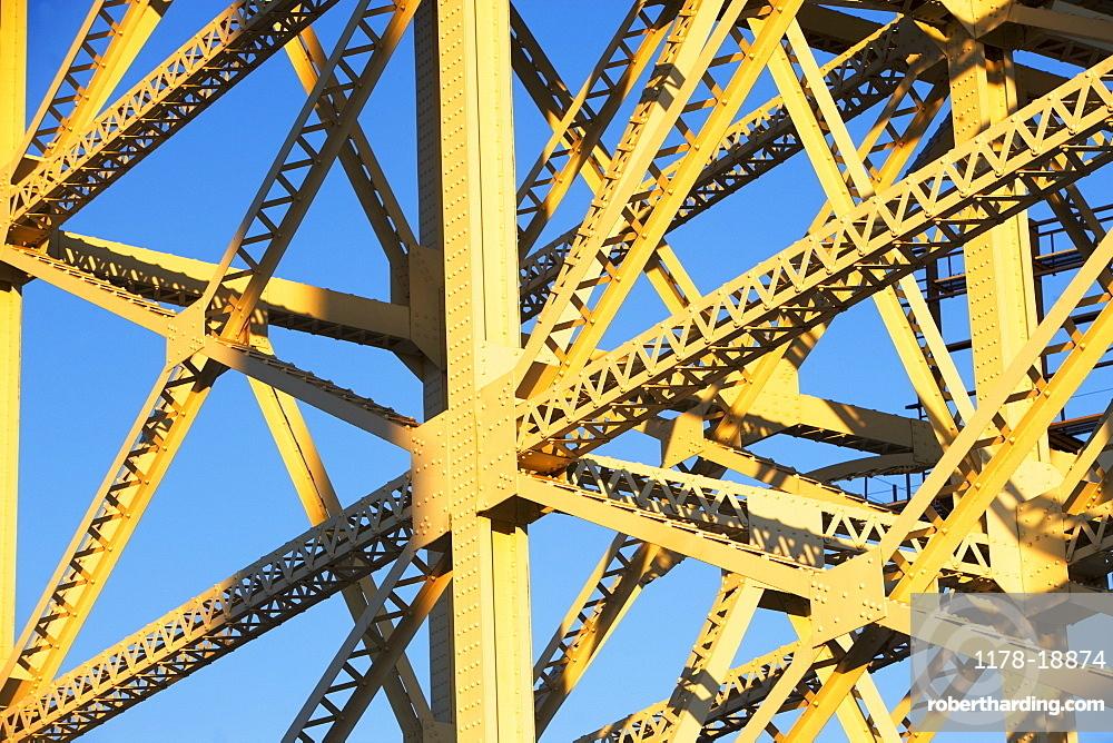 Low angle view of steel girders