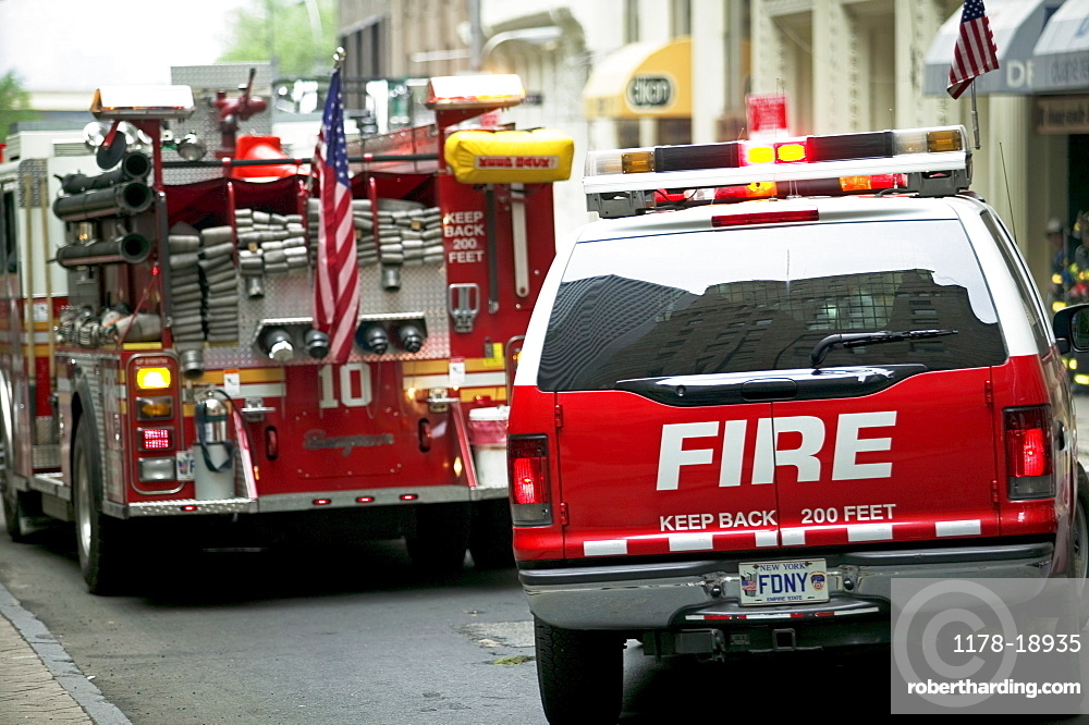 Fire trucks in urban area