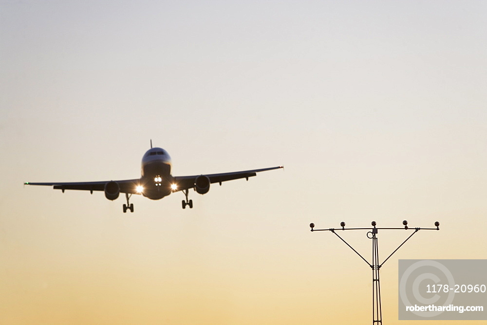 Commercial aeroplane taking off from runway