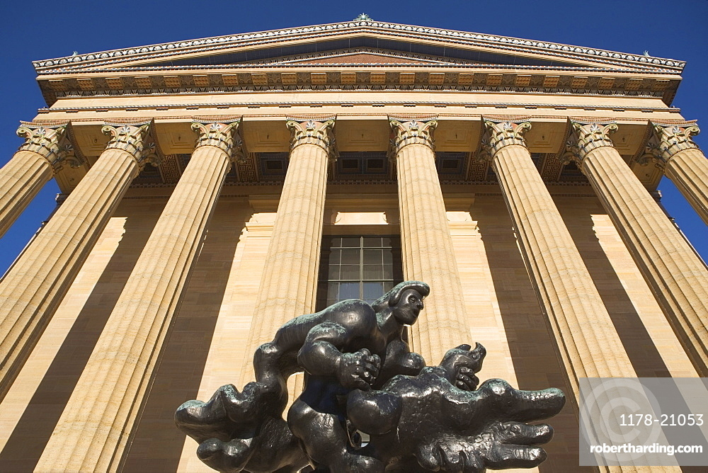 USA, Pennsylvania, Philadelphia, low angle view of Philadelphia Museum Of Art facade