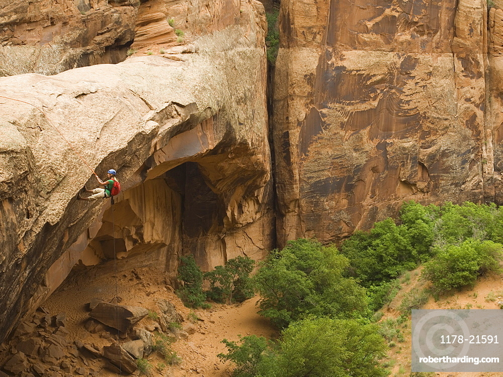 Person canyon rappelling