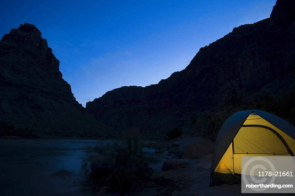 Tent next to river at night, Colorado River, Moab, Utah, United States
