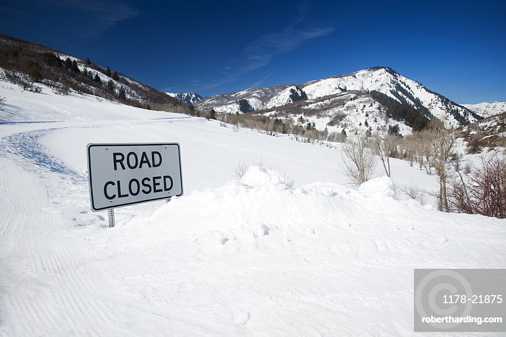 Road Closed sign in snow