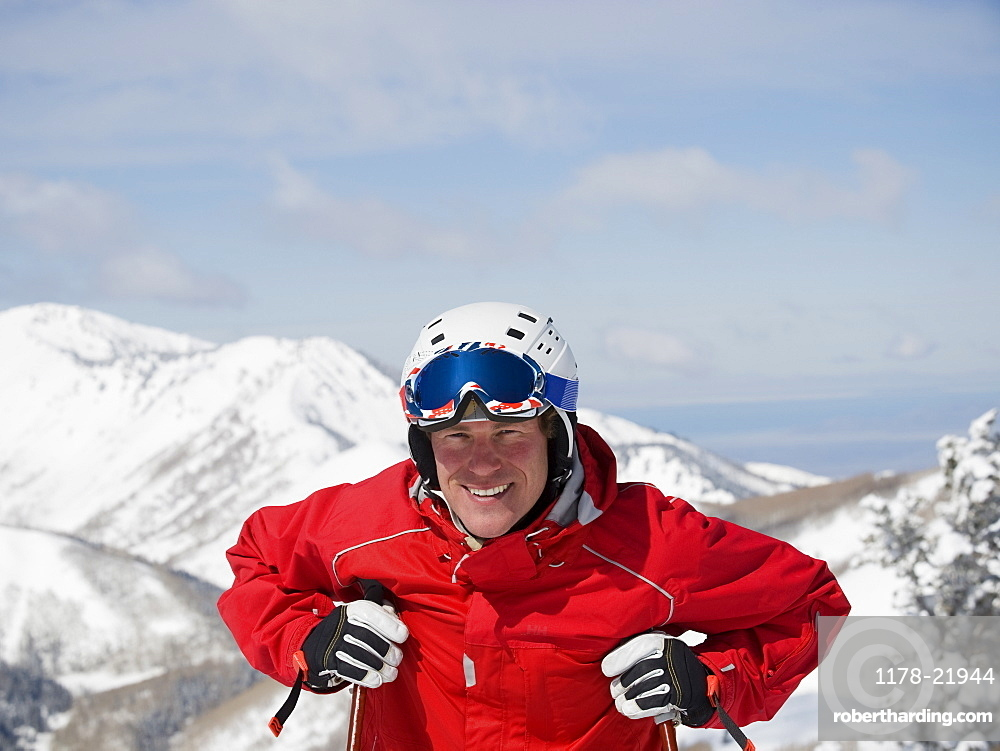 Man wearing ski gear