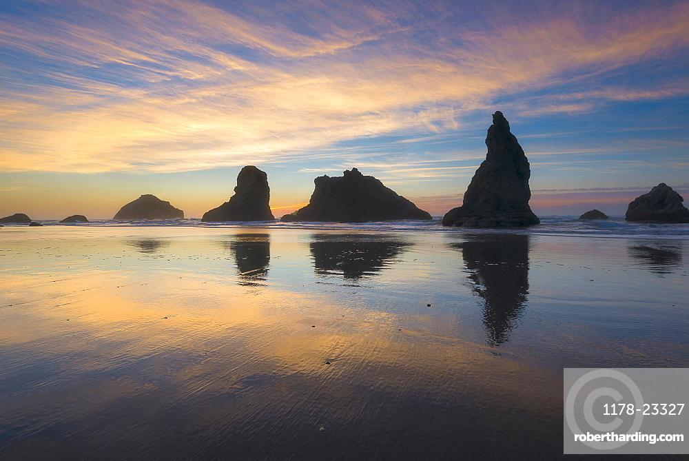 Beach with stack rocks at sunset, Bandon, Oregon