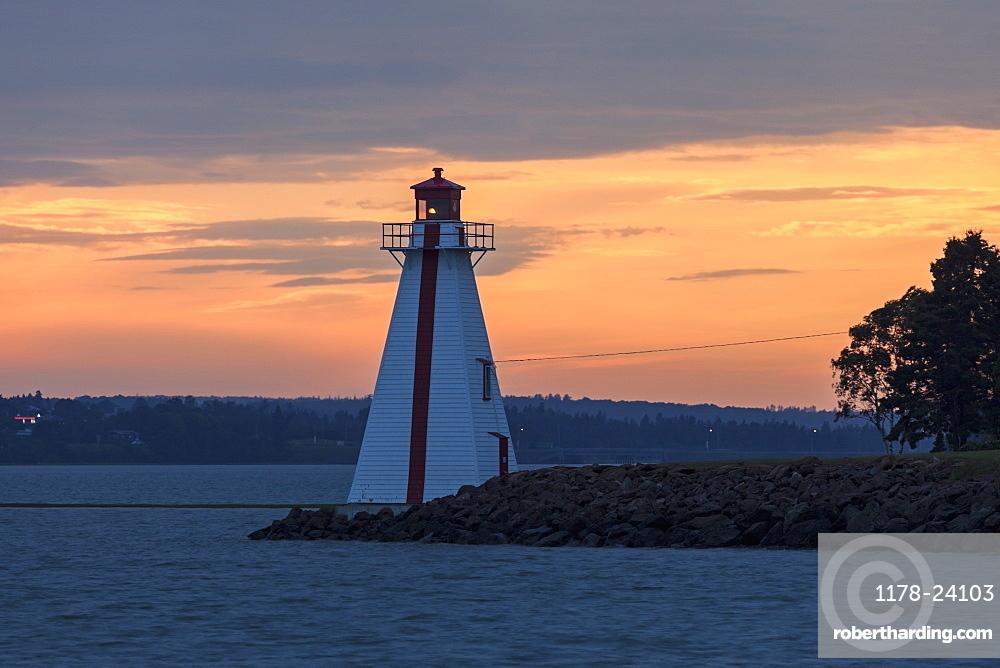 Lighthouse at sunset, Prince Edward Island, New Brunswick, Canada