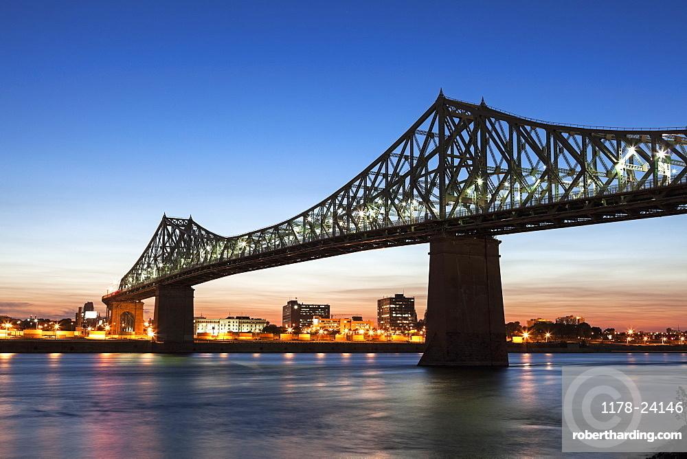 Illuminated Jacques Cartier Bridge against sky, Quebec, Canada