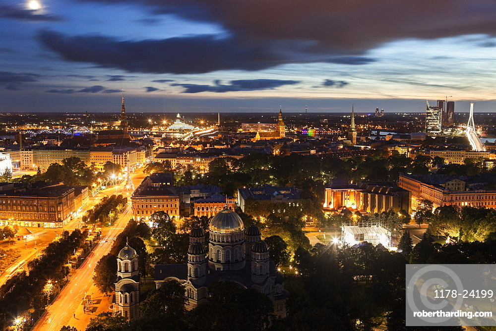Elevated view of city at dusk, Latvia