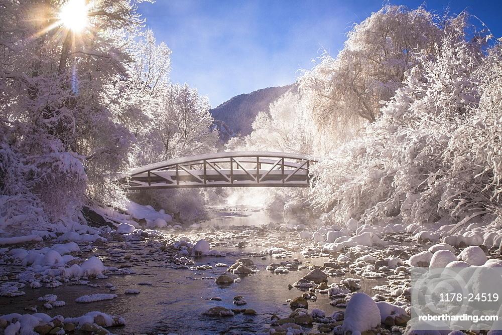 Scenic view of stream in winter, Colorado