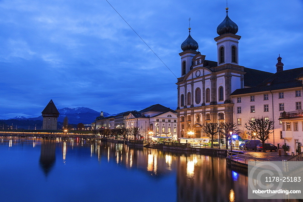 Chapel Bridge and Jesuit Church, Switzerland, Lucerne, Chapel Bridge,Jesuit Church