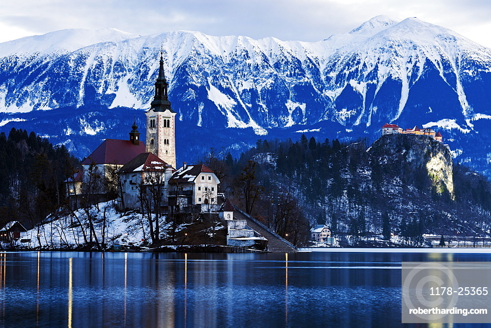 View of Church of the Assumption with lake and mountain, Slovenia, Bled, Church of the Assumption, Bled Castle