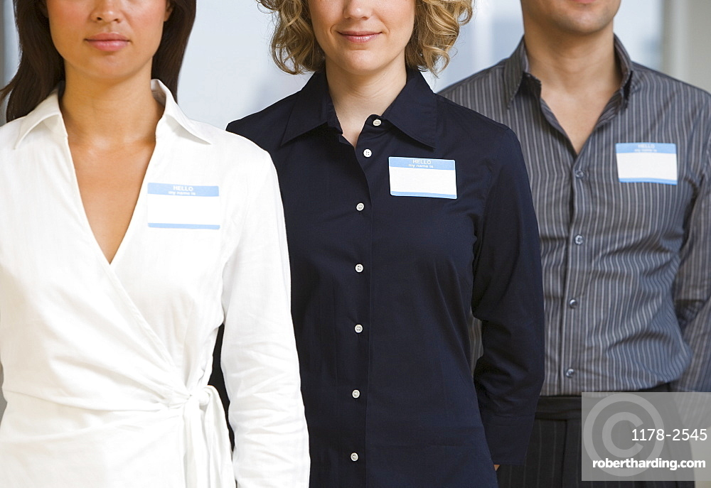 Multi-ethnic businesspeople wearing name tags