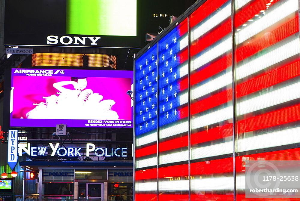 New York City, Neon of american flag