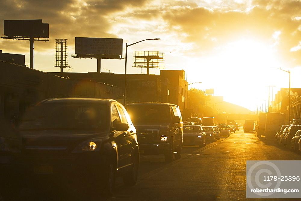 USA, New York State, New York City, Manhattan, Car traffic at sunset