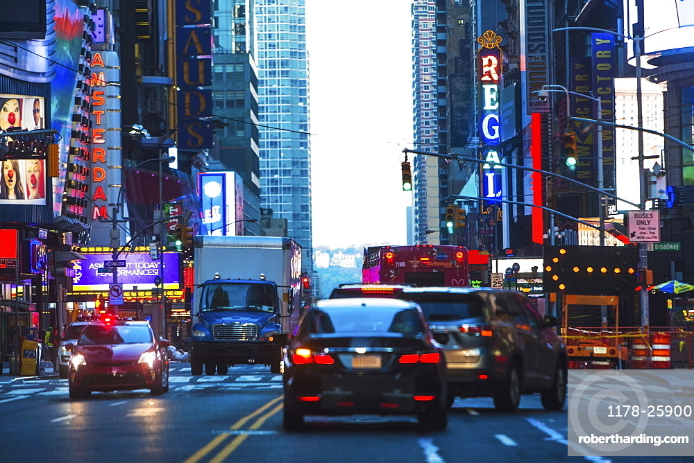 USA, New York, New York City, 42nd street City traffic in evening