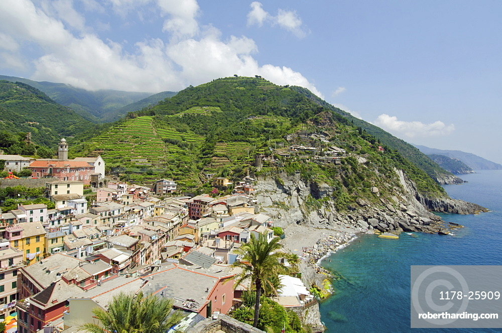 Italy, CinqueTerre, Vernazza, Landscape with town on coast