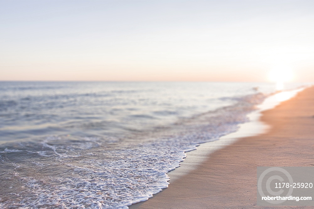 USA, Massachusetts, Nantucket, Cisco Beach, Sunset over sea