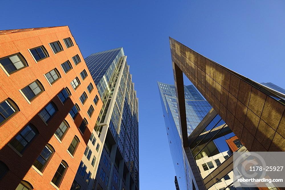 USA, Boston, Massachusetts, Buildings on Boston Waterfront
