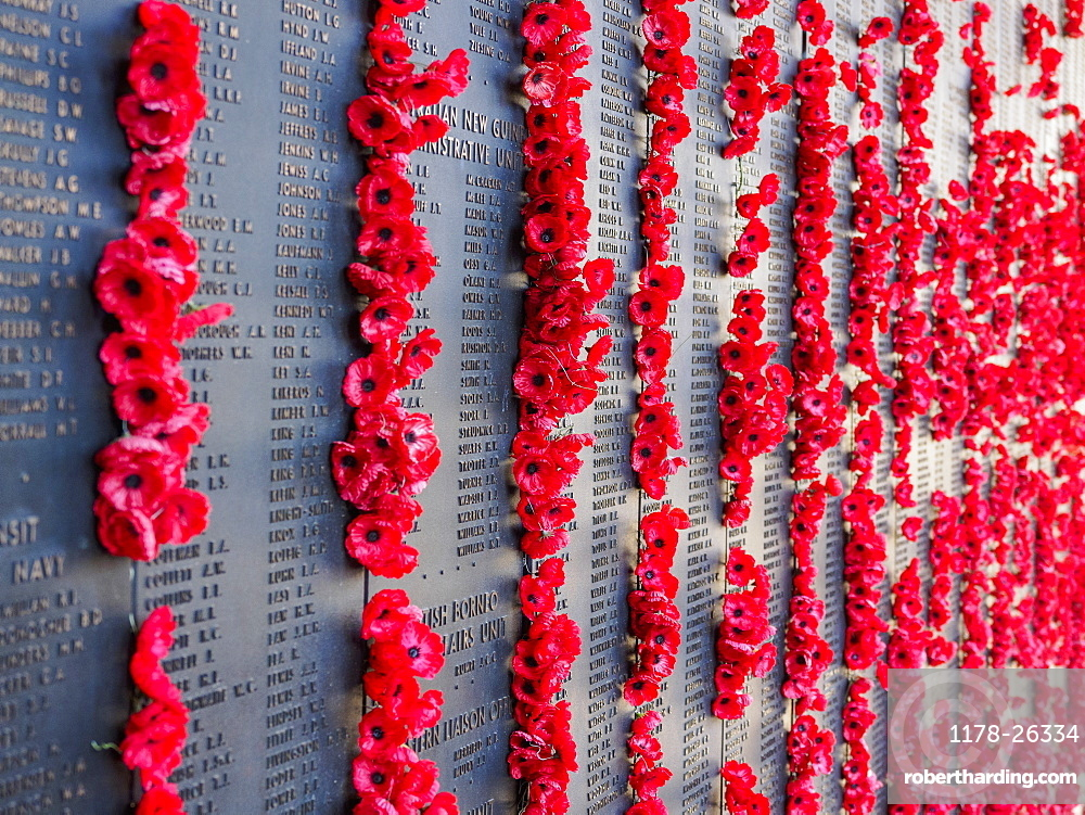 War memorial with poppies