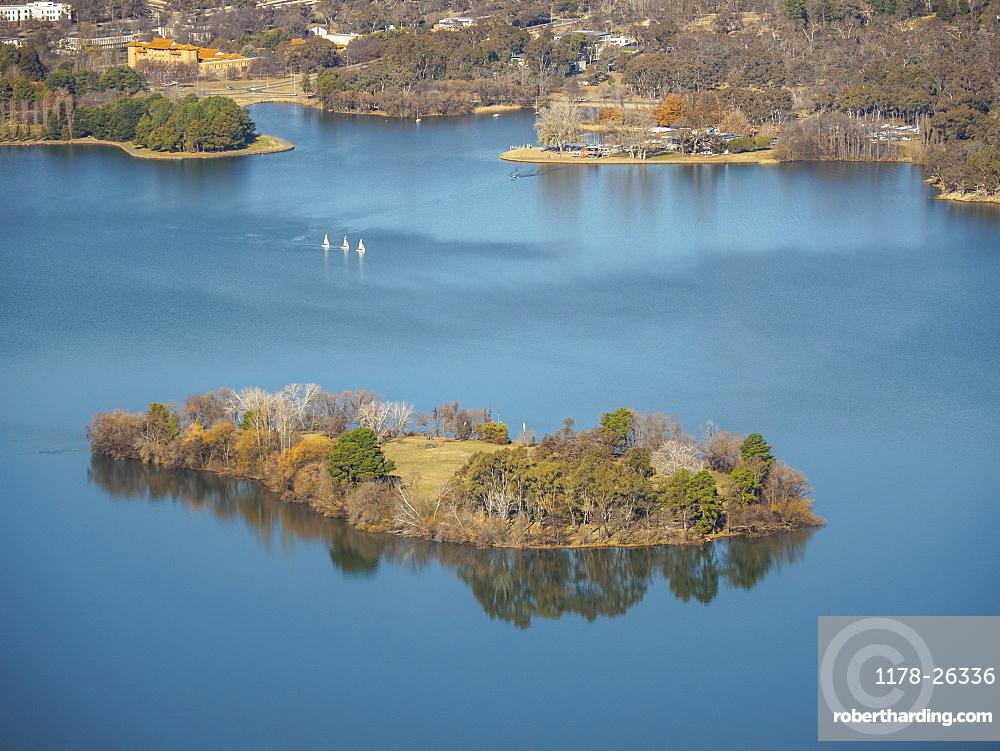 Island on Lake Burley Griffin, Canberra, Australia