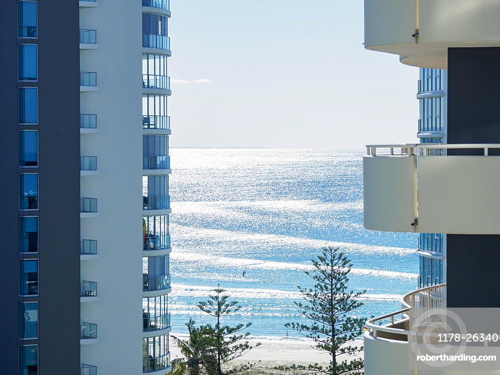 Apartment buildings by beach, Coolangata, Australia