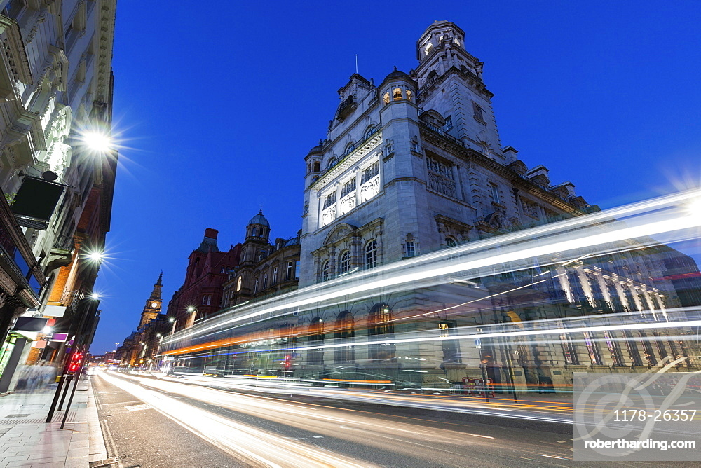 Light trails by building in Liverpool, England, Liverpool,  North West England, United Kingdom