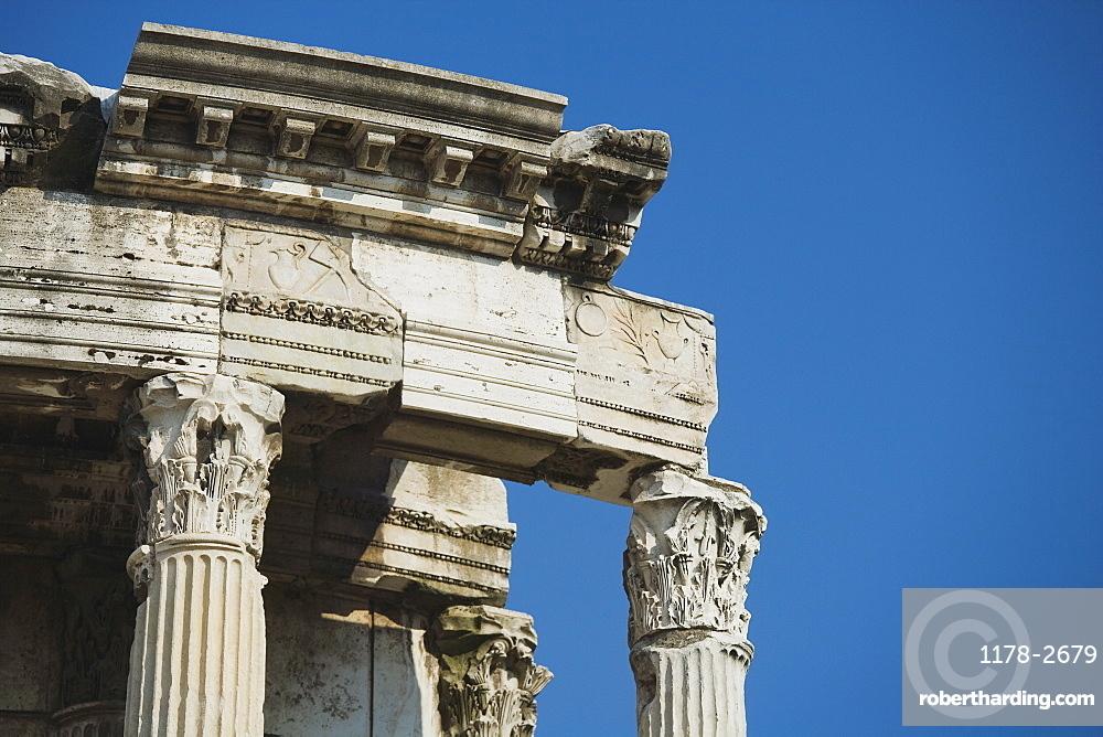 Close up of Temple of Vesta, Roman Forum, Italy