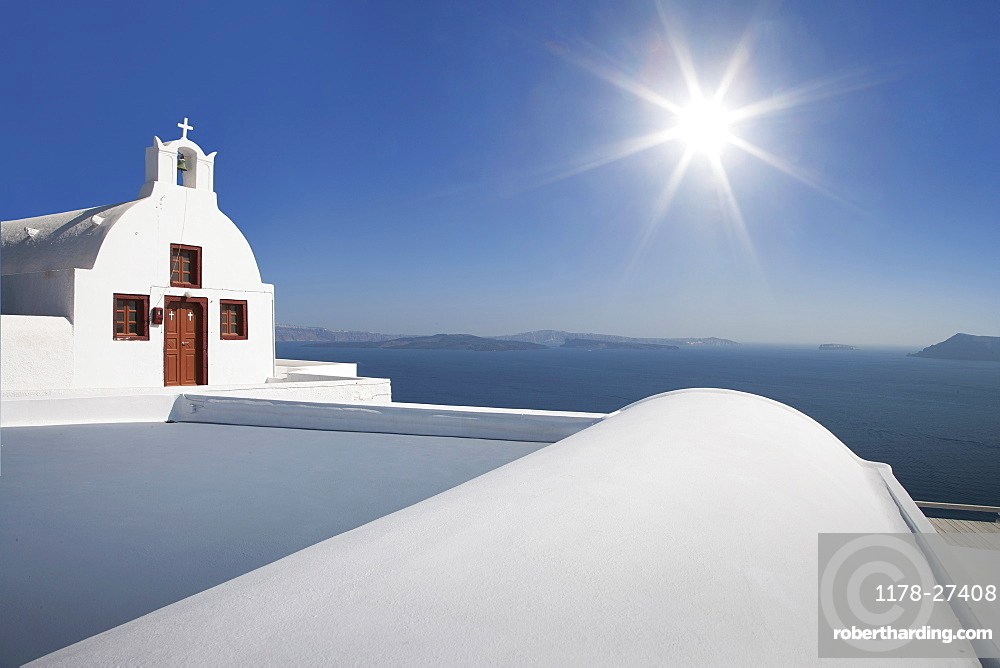 Whitewashed church in Santorini, Cyclades Islands, Greece
