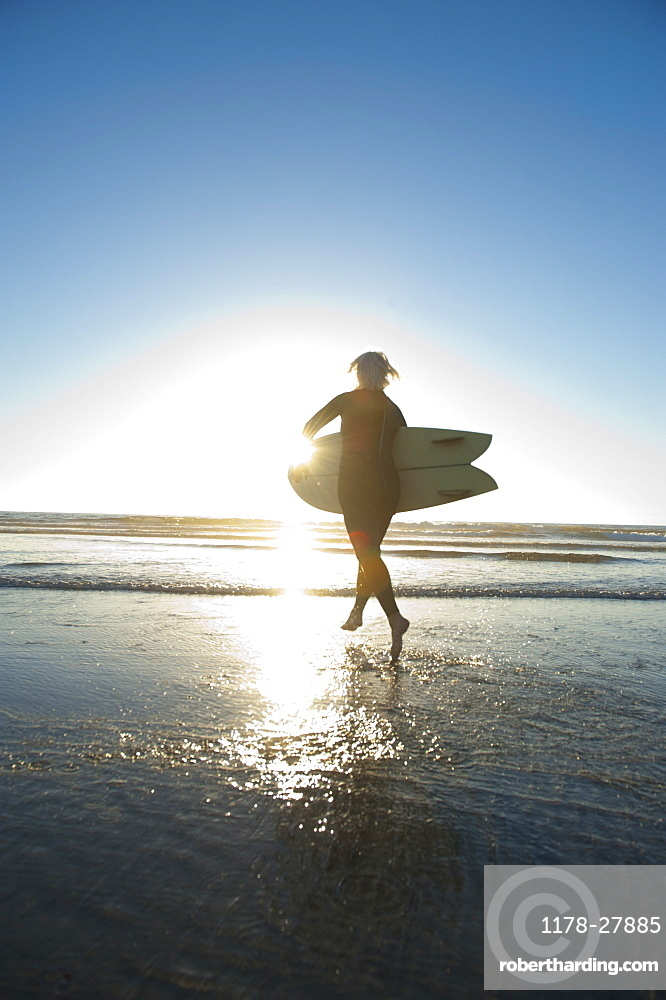 Mature woman carrying surfboard into sea at sunset