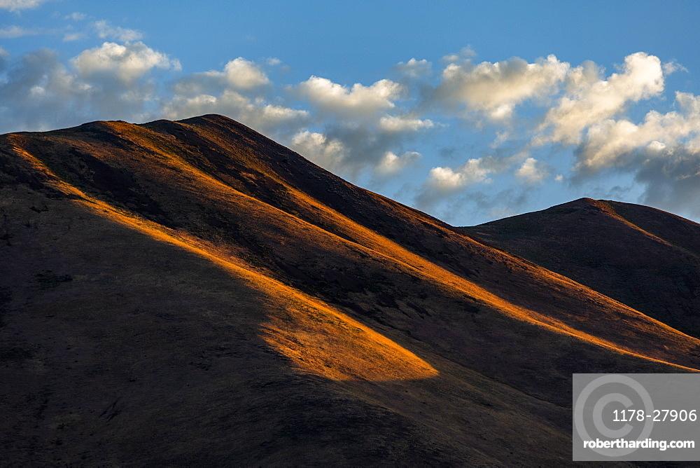 Brown hills in shadow in Bellevue, Idaho, USA