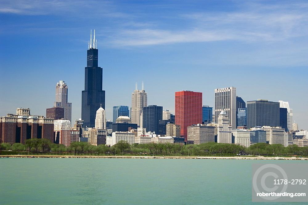 Skyline including Sears Tower Chicago Illinois USA