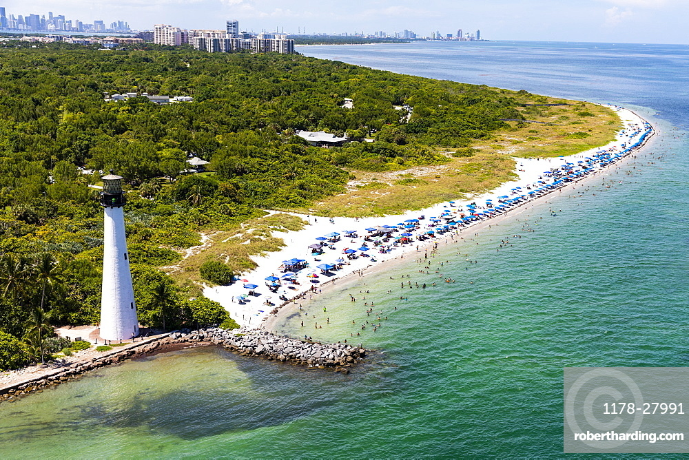 Lighthouse on coastline in Key Biscayne, Florida, United States of America
