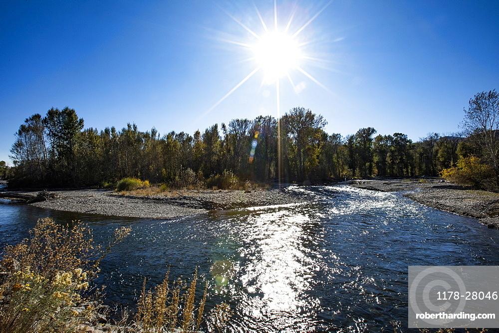 Big Wood River under sun in Bellevue, Idaho, United States of America