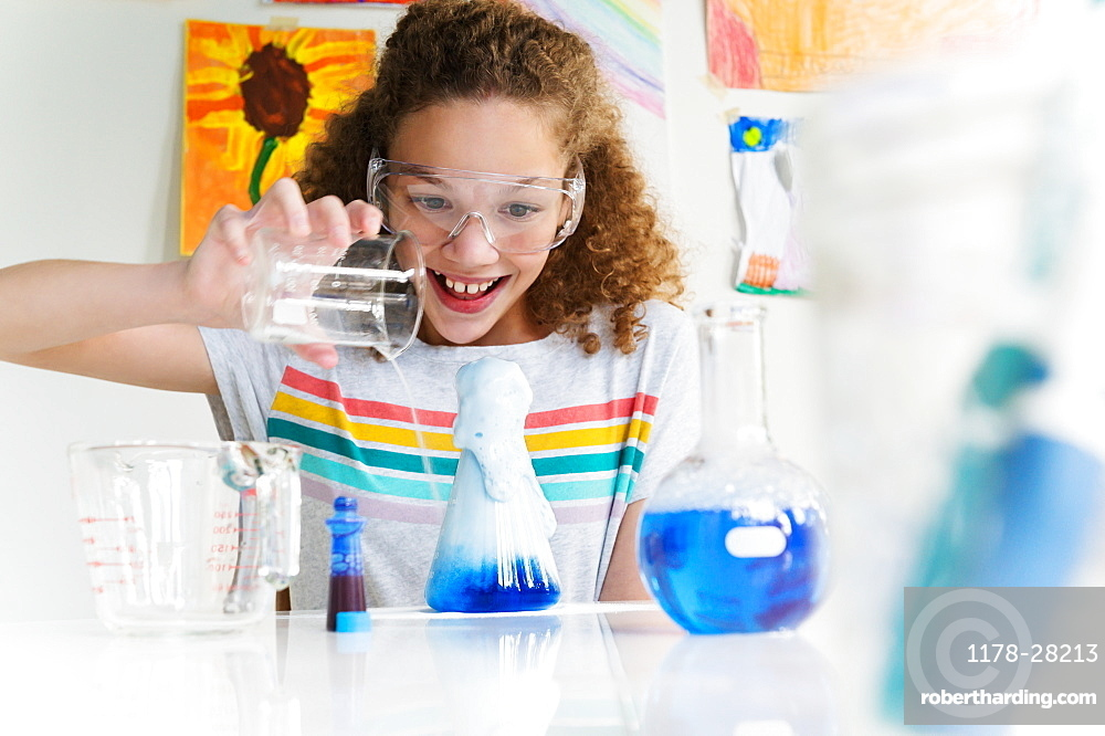 Girl making science experiment