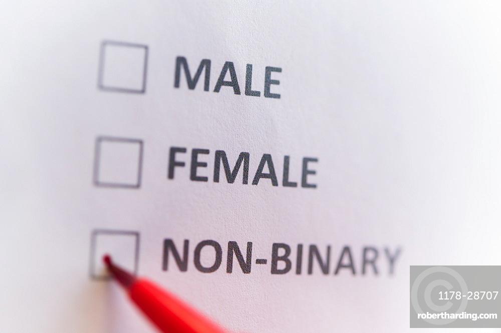 Pen marking on male, female and non binary gender checklist