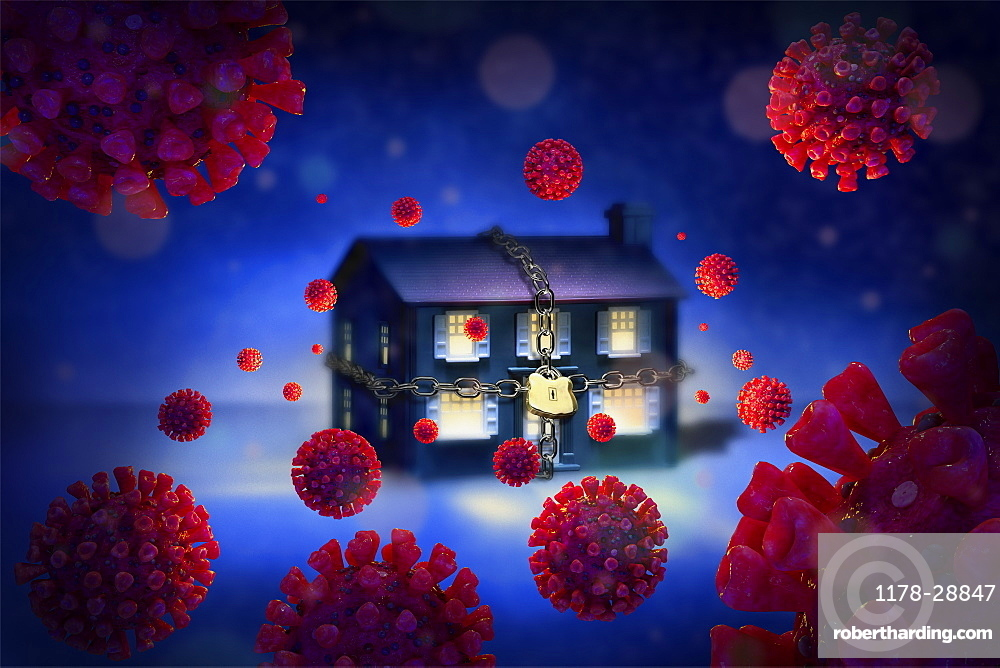 Digitally generated image of chained up house surrounded withCoronaviruses