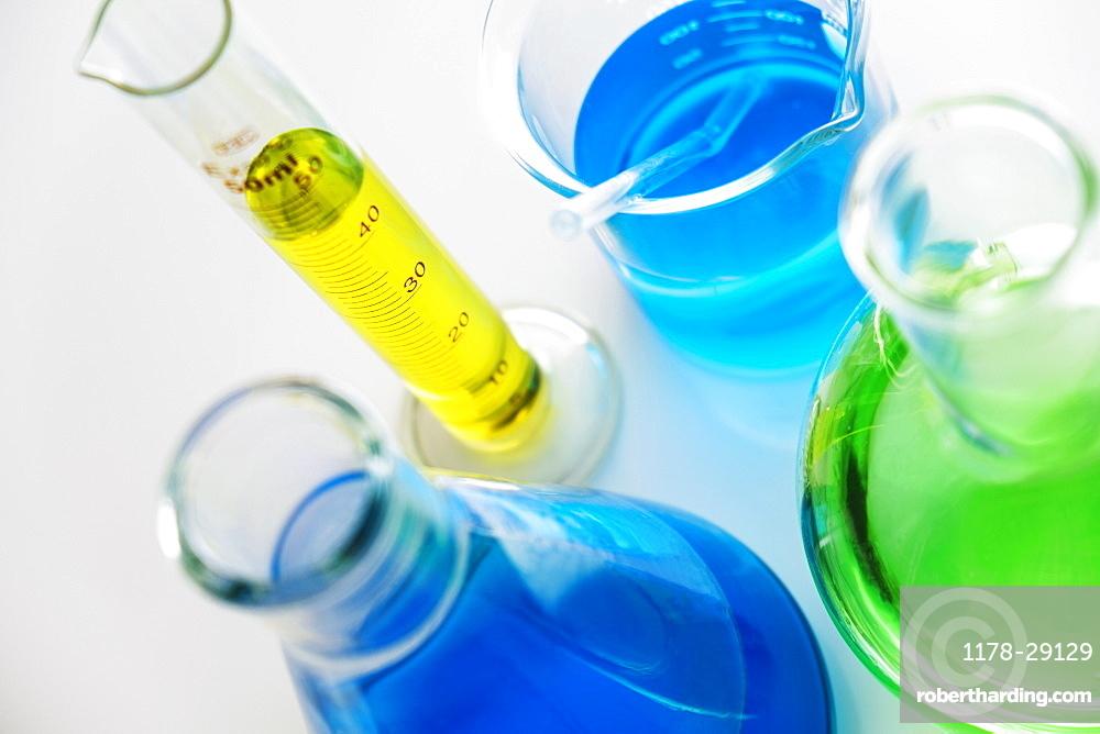 Colorful liquid in beakers