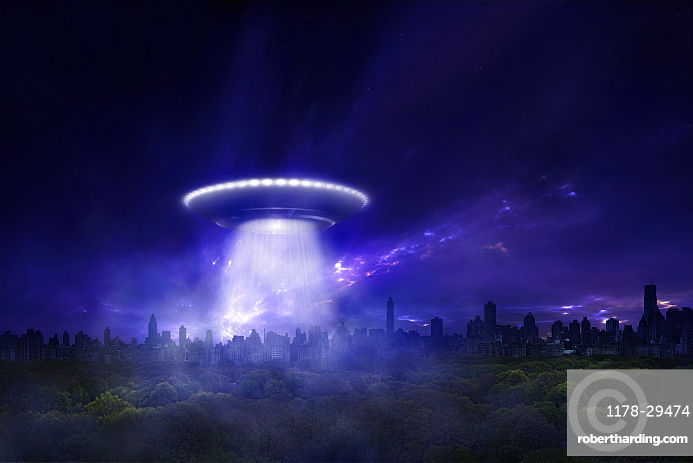 USA, Spaceship above city