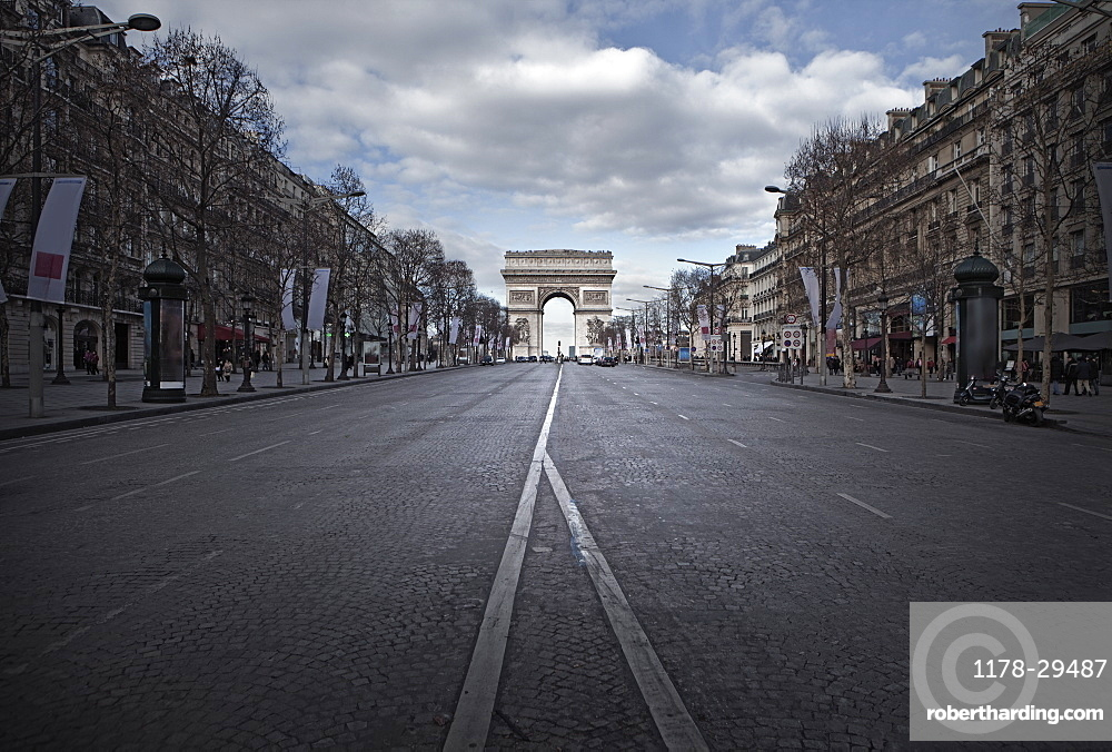 France, Paris, Street with Triumphal Arch at end
