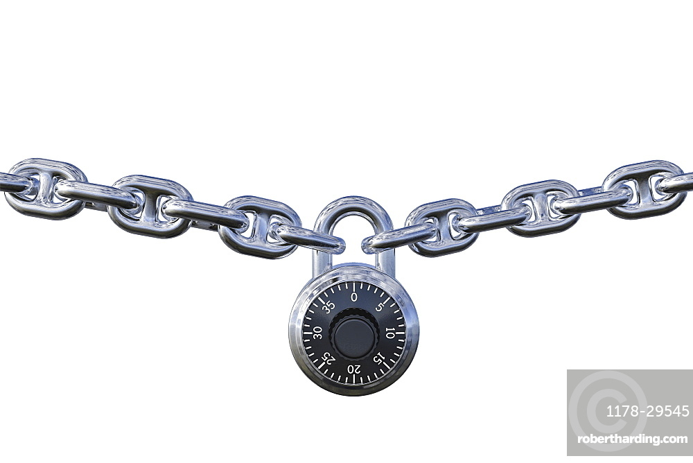 Padlock with chain white background