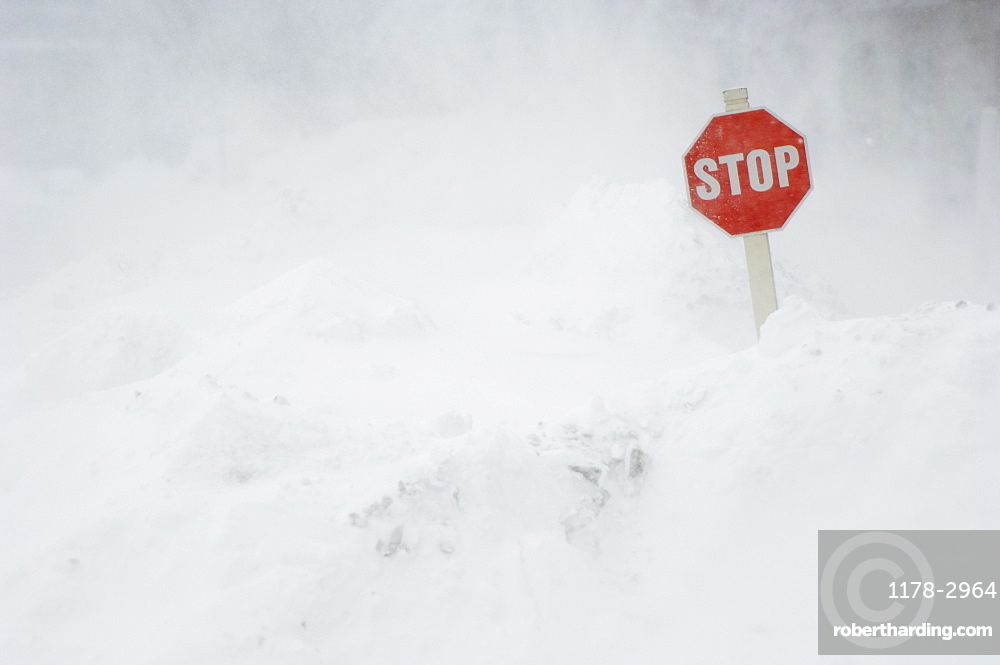 Stop sign in snow bank