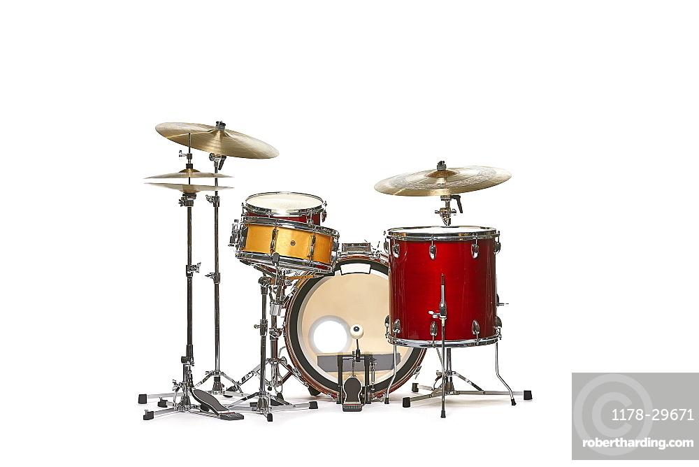 Drum set against white