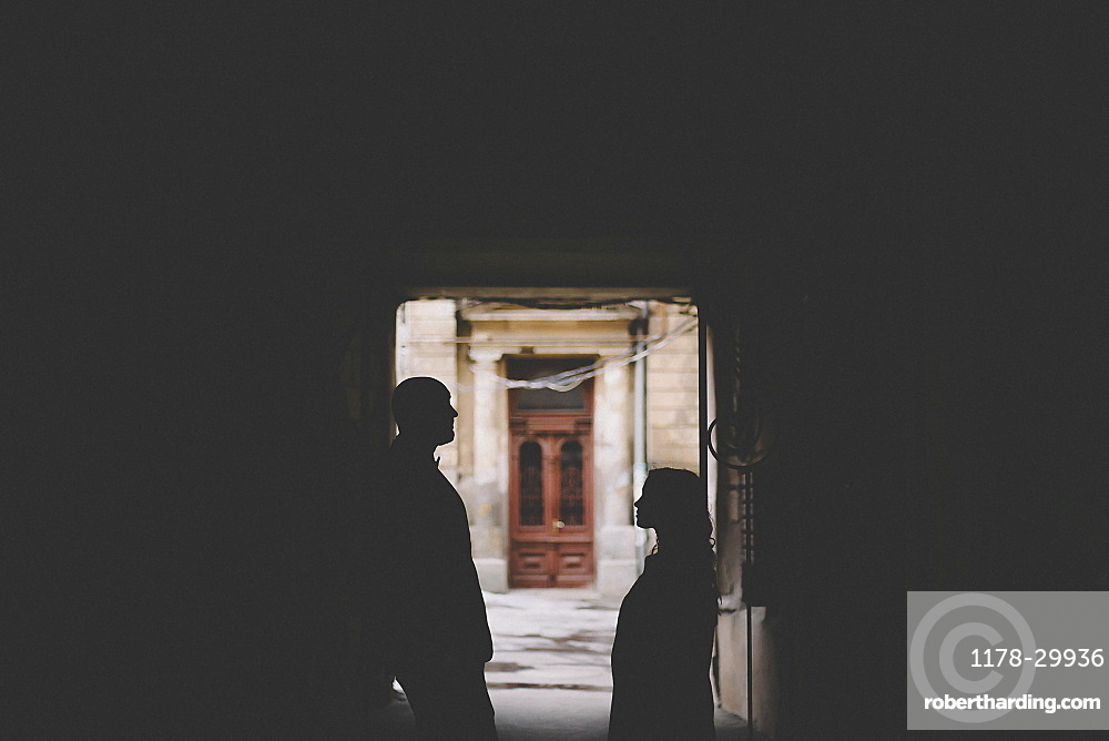 Silhouettes of newlywed standing in gate